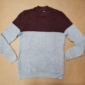 Topman Burgundy Grey Crew Neck Sweatshirt Men's XS